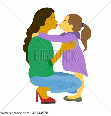Beautiful Mother Hugs Her Daughter With Great Love And Tenderness. Mother And Child. Mother's Day, T