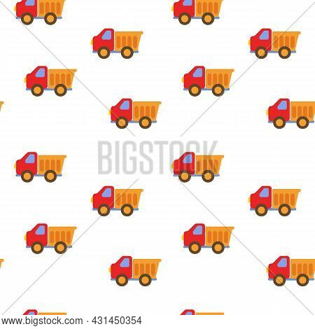 Seamless Background With Truck Red. Children S Pattern In The Style Of Minimalism For The Textiles O