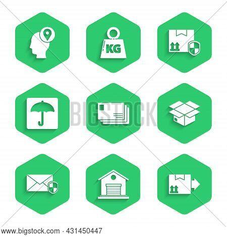 Set Envelope, Warehouse, Cardboard Box With Traffic Symbol, Carton Cardboard, Shield, Umbrella, Deli