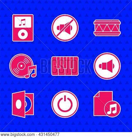 Set Music Synthesizer, Power Button, Book With Note, Speaker Volume, Vinyl Player Vinyl Disk, Drum A
