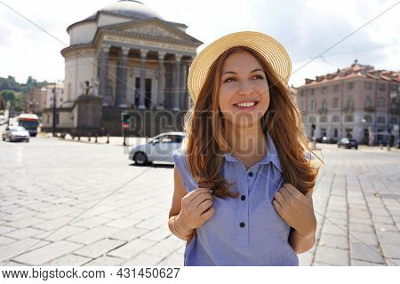 Attractive Traveler Girl Walking In Turin With Gran Madre Di Dio Church On The Background. Tourist G