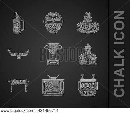 Set Award Cup, Retro Tv, Stopwatch, Hockey Coach, Table, Ice Hockey Sticks And Puck, Mallet For Play