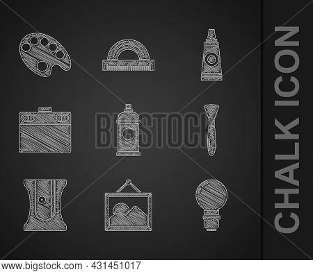 Set Paint Spray Can, Picture Landscape, Light Bulb, Brush, Pencil Sharpener, Graphic Tablet, Tube Wi