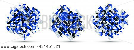 Abstract Modern Vector Trendy Designs Set, Blue Geometric Shapes Stylish Compositions, Modular Patte