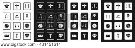Set Airport Runway, Plane Takeoff, Metal Detector In Airport, Pilot Hat, Hot Balloon, Compass And Ic