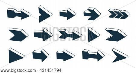 3d Vector Arrows Big Set, Single Color Monochrome Simple Symbols Icons Or Logos, Perfect Graphic Des