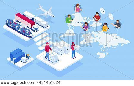 Global Logistics Network Isometric Illustration. Air Cargo Trucking Rail Transportation Maritime Shi