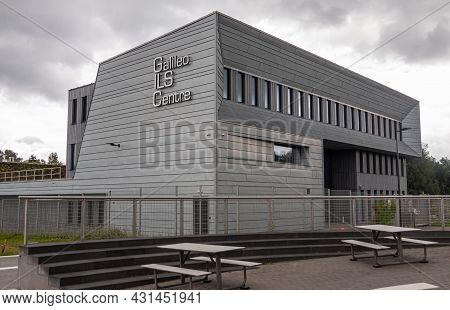 Transinne, Wallonia, Belgium - August 10, 2021: Euro Space Center. Gray Modern Galileo Integrated Lo