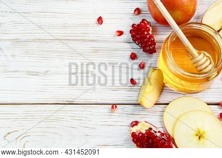 Happy Rosh Hashanah. Traditional Symbols Of The Jewish New Year Celebration. Apples, Pomegranates An