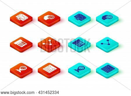 Set Location And Mail And E-mail, Calendar, Telephone, Share, Mail And Monitor Envelope Icon. Vector