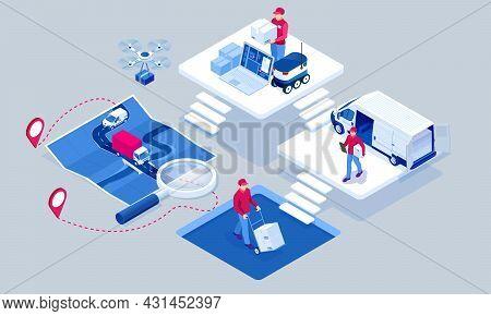 Global Logistics Network Isometric Illustration. Isometric Logistics And Delivery Concept. Delivery