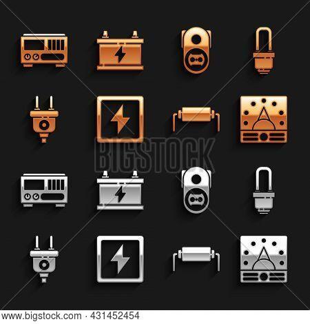 Set Lightning Bolt, Led Light Bulb, Ampere Meter, Multimeter, Voltmeter, Resistor Electricity, Elect
