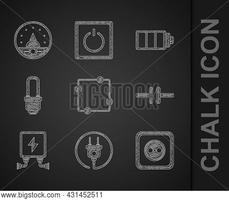 Set Electric Circuit Scheme, Plug, Electrical Outlet, Transformer, Led Light Bulb, Battery Charge Le