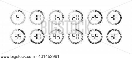 Timer Icon. Stopwatch With Second And Minute. Clock For Time, Countdown And Stop. Watch With Sec Fro