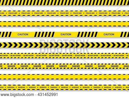 Black Yellow Tape. Strip For Caution And Danger. Tape For Police, Construction, Crime And Warning. L