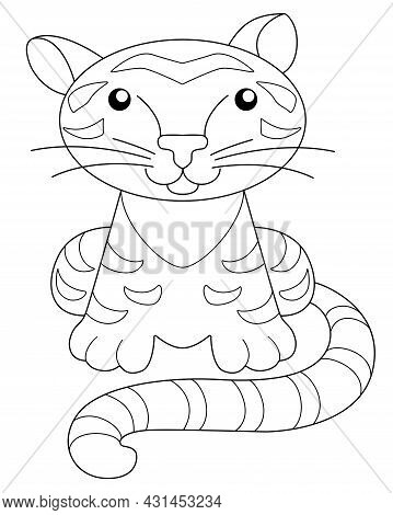 Tiger - Picture For Coloring Book. Little Cute Tiger Cub Sits - Vector Linear Illustration For Color