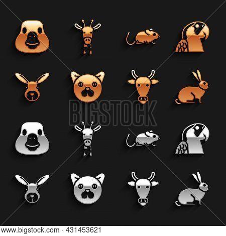 Set Cat, Macaw Parrot, Rabbit, Cow Head, Rat, Goose Bird And Giraffe Icon. Vector