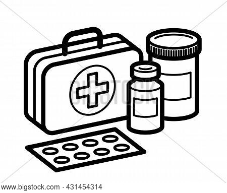 Medicine First Aid Medical Kit Theme Pills And Bottles 3D Vector Illustration Isolated, Medicaments