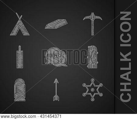 Set Bang Boom, Gun Comic, Crossed Arrows, Hexagram Sheriff, Cactus, Bullet, Dynamite Bomb, Pickaxe A
