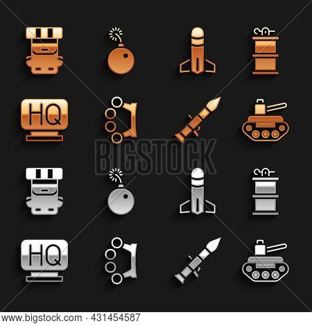 Set Brass Knuckles, Hand Smoke Grenade, Military Tank, Rocket Launcher, Headquarters, Hiking Backpac