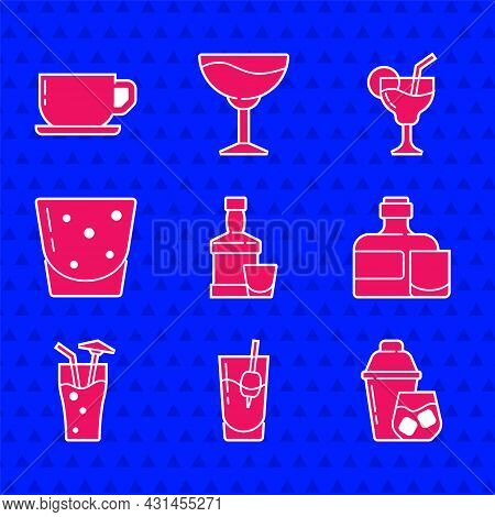 Set Whiskey Bottle And Glass, Cocktail Bloody Mary, Shaker, Glass Of Rum, And Coffee Cup Icon. Vecto