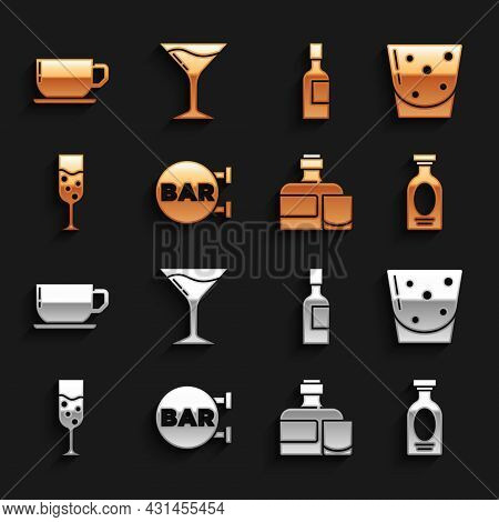 Set Street Signboard With Bar, Glass Of Rum, Alcohol Drink Rum, Whiskey Bottle And Glass, Champagne,