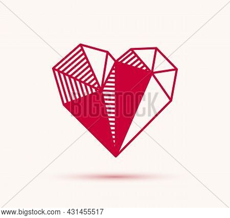Low Poly Geometric Heart Vector Icon Or Logo, Graphic Design 3d Love Theme Element, Polygonal Dimens