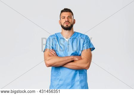 Healthcare Workers, Medicine, Covid-19, Pandemic Self-quarantine Concept. Confident Strong, Serious-
