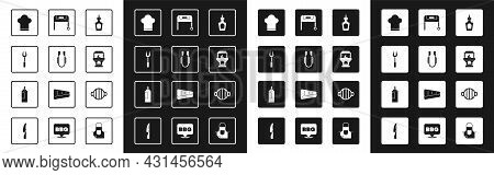 Set Sauce Bottle, Meat Tongs, Barbecue Fork, Chef Hat, Brick Stove, Grill, And Icon. Vector