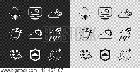 Set Cloud With Snow, Location Cloud, Windy Weather, Earth Planet Clouds, Weather Forecast, Moon And
