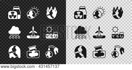 Set Nuclear Power Plant, Global Warming, Fire, Barrel Oil Leak, Gas Pump Nozzle And Globe, Cloud Wit