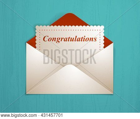 Postal Envelope With Congratulations Card Over Wooden Background Realistic Vector Paper Illustration