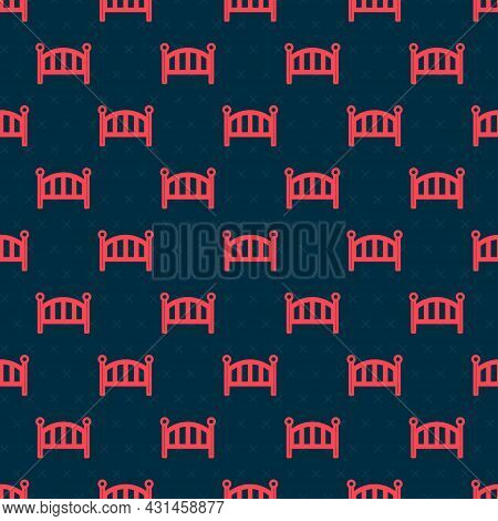 Red Line Baby Crib Cradle Bed Icon Isolated Seamless Pattern On Black Background. Vector