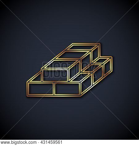 Gold Line Stacks Paper Money Cash Icon Isolated On Black Background. Money Banknotes Stacks. Bill Cu
