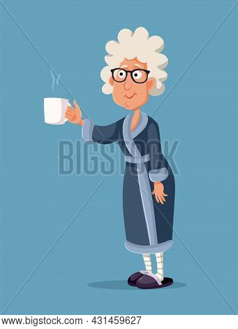 Granny Holding A Cup Of Tea Vector Cartoon Illustration