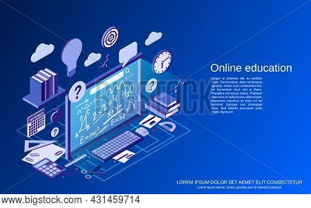 Online Education, Learning, Teaching Flat 3d Isometric Vector Concept Illustration
