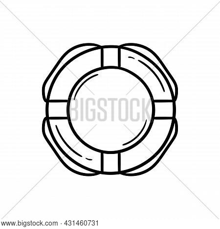 Hand Drawn Illustration Of A Rescue Buoy On A White Background