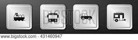 Set Oil Tanker Ship, Trolleybus, Off Road Car And Rv Camping Trailer Icon. Silver Square Button. Vec