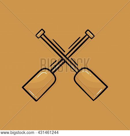 Hand Drawn Illustration Of Rowing Boat Color Version With Wood Brown Color Combination