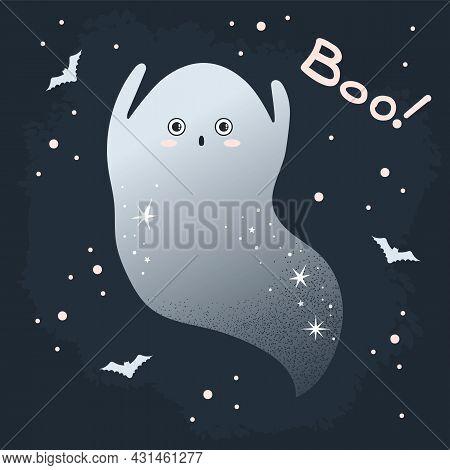 Cute Vampire Halloween Ghost. October Halloween Design Vector Illustration On A Dark Background With