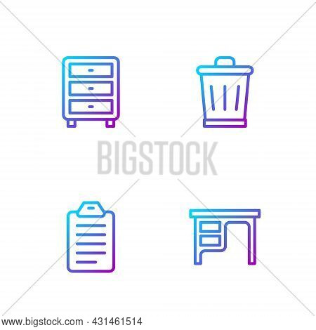 Set Line Office Desk, To Do List Or Planning, Archive Papers Drawer And Trash Can. Gradient Color Ic