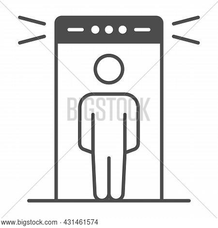 Passenger At Metal Detection Portal Solid Icon, Security Check Concept, Metal Detector Vector Sign O
