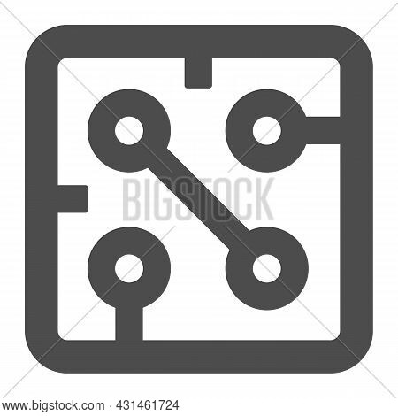 Fragment Of Printed Circuit Board Square Shape Solid Icon, Electronics Concept, Pcb Vector Sign On W