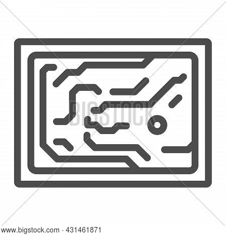 Printed Circuit Board Simplified Diagram Line Icon, Electronics Concept, Pcb Vector Sign On White Ba