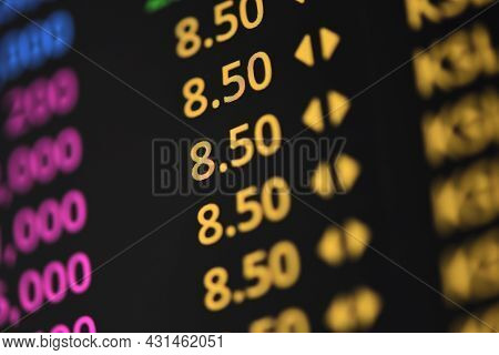 Stock Exchange Trading Analysis Investment Financial On Display Crisis Stock Crash Down And Grow Up