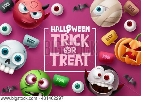 Trick Or Treat Halloween Vector Background Design. Halloween Trick Or Treat Text In Pink Space With