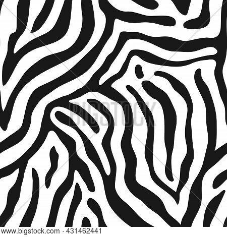 Seamless Pattern With Zebra Stripes. Animal Print.