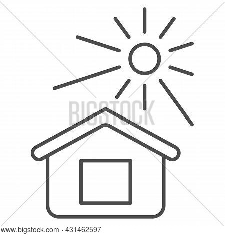 Sun Illuminates The House Thin Line Icon, Weather And Climate Concept, House And Sunshine Vector Sig
