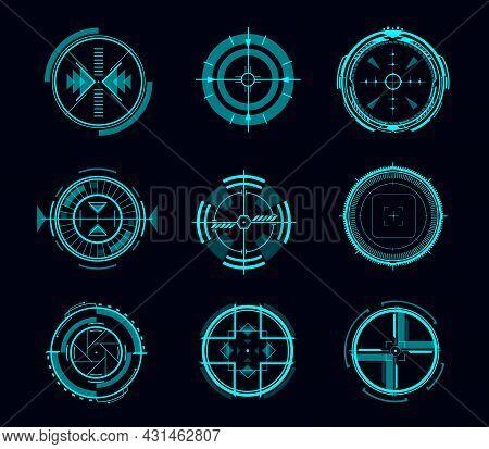 Hud Aim Control, Futuristic Target Or Navigation Interface, Vector Game Ui. Digital Data Screen, Pan