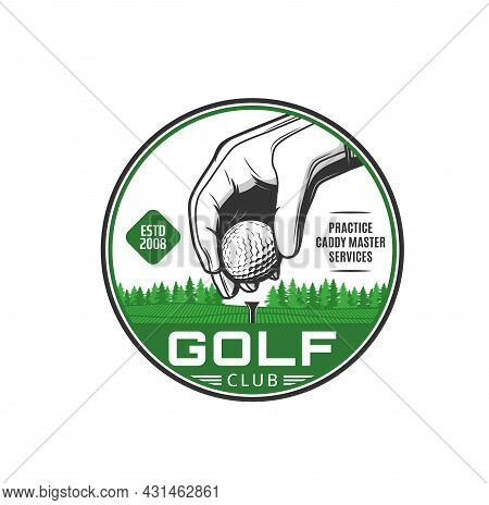Golf Sport Icon. Golf Club Services, Sport Competition Vintage Emblem Or Vector Badge With Player Ha